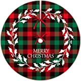 Red and Green Buffalo Plaid Christmas Tree Skirt, Ceephouge 48 inch Checkered Merry Christmas Mat for 5-7 FT Large Xmas Trees