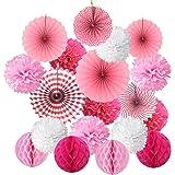 飾り付けセット Cocodeko ペーパーファン ハニカムボール ペーパーフラワー 紙扇子 飾り付け 誕生日 結婚式のデコレーション - ピンク