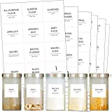 Talented Kitchen 144 Minimalist Pantry Labels Set. Black Print on White Matte Backing, Water Resistant. Spice Jars Vinyl Orga