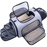 Siivton Airline Approved Pet Carrier, Soft Sided Pet Travel Carrier 4 Sides Expandable Cat Carrier with Fleece Pad for Cats,