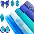 AUXIN 8 Pcs Mixed Blue Series A4 Size Faux Leather Sheets Bundle for Earrings Bows Purses Making, Assorted Synthetic Leather