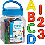 edxeducation-56500 Transparent Letters and Numbers Set - Mini Jar - Colorful, Plastic Letters and Numbers - Light Box Accesso
