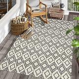 Uphome Moroccan Area Rug 4'x6' Cotton Geometric Printed Throw Rugs Hand Woven Diamond Indoor/Outdoor Collection Flatweave Rug