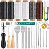 Upholstery Repair Stitching Kit, Leather Repair Kit Including Sewing Awl, Leather Chisels, Waxed Thread, Leather Needle, Leat