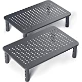 Evoomi Computer Monitor Stand Laptop Stand for Desk [2 Pack] – Sturdy Black Steel Adjustable Monitor Riser Stand for Laptop,
