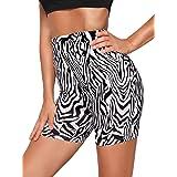 WDIRARA Women's Leopard Letter Print Elastic Waist Sporty Skinny Short Leggings