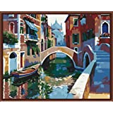 Paint by Numbers-DIY Digital Canvas Oil Painting Adults Kids Paint by Number Kits Home Decorations-Bridge River 16 * 20 inch