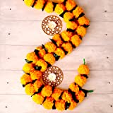 Krati Exports 5 PC - 5 feet Orange Marigold Garland with Green Leaves  Indian/American Wedding Party Mantle Decoration, Faux