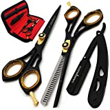 Saaqaans SQS-01 Professional Hair Cutting Scissors Kit - Haircut Scissor for Barber/Hairdresser/Hair Salon + Thinning/Texture
