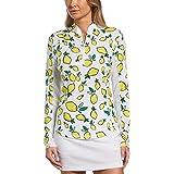 PGA TOUR Women's Standard Summer Lemon Print Long Sleeve 1/4 Zip Golf Shirt