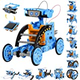 Sillbird STEM Projects 12 in 1 Solar Robot Toys for Kids, 190 Pieces Solar and Cell Powered Dual Drive Motor DIY Building Sci