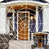 ATDAWN 2 Pack Halloween Spider Web Outdoor Decor, 11 Feet Giant Spider Web for Indoor Outdoor Decoration, Halloween Decoratio