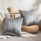Topfinel Square Decorative Throw Pillow Cases Soft Velvet Outdoor Cushion Covers 18 X 18 for Sofa Bed, Set of 2, Grey
