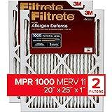 Filtrete Micro Allergen Defense AC Furnace Air Filter, MPR 1000, 20 x 25 x 1-Inches, 2-Pack