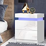 Artiss LED Bedside Table High Gloss Nightstand White, 45(L) x 35(W) x 52.5(H)