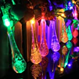 T-SUN 30 LED Solar String Lights, Water Drop Shaped Fairy String Light Christmas Light, Multi-Color Indoor Outdoor Landscape