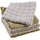 DII 100% Cotton, Machine Washable, Ultra Absorbant, Basic Everyday 12 x 12 Terry Kitchen Dish Cloths, Windowpane Design, Set