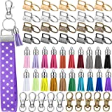 60 Pieces Key Fob Hardware Set Include 20 Key Fob Hardware Wristlet with Keyring and 20 Leather Keychain Tassel 20 Swivel Sna