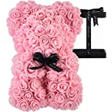 AZXU Rose Bear - Rose Teddy Bear on Every Rose Bear -Flower Bear Perfect for Anniversary's - Clear Gift Box Included! 10 Inch