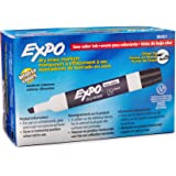 EXPO Low Odour Dry Erase Markers, Chisel Tip, Black, 12 Count
