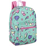 Trailmaker Girls' All Over Printed Backpack 17 Inch With Padded Straps (Hearts)