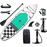 Aqua Plus 10ft6inx33inx6in Inflatable SUP for All Skill Levels Stand Up Paddle Board Boat, Adjustable Paddle,Double Action Pu