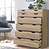 Artiss Chest of Drawers Wooden 6-Drawer Tallboy, Oak