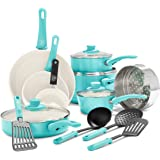 GreenLife CC001007-002 Soft Grip 16pc Ceramic Non-Stick Cookware Set, Turquoise