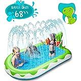"X TOYZ Inflatable Sprinkler Pool for Kids Large 68"", 3 in 1 Dinosaur Splash Water Playing Pad Kiddie Pool, Spray Pad Swimming"