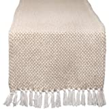 """DII CAMZ11276 Braided Cotton Table Runner, Perfect for Spring, Fall Holidays, Parties and Everyday Use 15x72"""" Stone"""