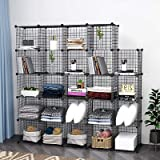 24 Cube Wire Storage Cubes Cabinet Modular Display Shelving Unit Stackable Interlocking Wire Shelves DIY Metal Grid Closet Or