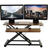 TechOrbits Standing Desk - Stand Up Desk Converter and Monitor Riser - Height Adjustable Sit Stand Tabletop Workstation Wood