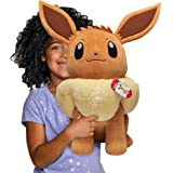 """Pokemon Eevee Giant Plush, 24"""" - Adorable, Ultra-Soft, Life Size Plush Toy, Perfect for Playing & Displaying - Gotta Catch 'E"""