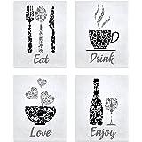 Black Grey White Mosaic Vintage Inspirational Kitchen Restaurant Cafe Bar Wall Art Decorations Eat Drink Love Wine Coffee Hea