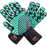 JHSafety H02301 Oven and Grill Gloves Certified Extreme Heat Resistant, Double Layers Silicone Coating 1 Pair Regular Cuff