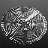 100pcs Fan-shaped False Nail Art Tips Sticks Polish Gel Salon Display Practice Tools with Metal Split Ring Holder (Clear)
