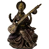 Top Collection Mini 3.125 Saraswati - Hindu Goddess of Knowledge Music Arts and Wisdom. Bronze Powder Mixed with Resin - Bron