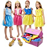 17 Pcs Girls Princess Dress Up Trunk Role Play Cosplay Set with Princess Shoes Crown Accessories Princess Costume for Kids Ag