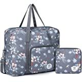 For Airlines Foldable Travel Duffel Bag Tote Carry on Luggage Sport Duffle Weekender Overnight for Women and Girls (Dark Grey