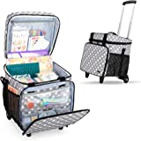 Luxja Rolling Scrapbook Tote, Scrapbook Bag with Detachable Trolley Dolly (Patented Design), Gray Dots