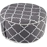 7Penn Inflatable Ottoman Foot Rest - 21 x 11 Inch Outdoor Poof Footstool Portable Patio Ottoman with Grey Design