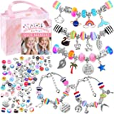 Bracelet Making Kit for Girls, Flasoo 85PCs Charm Bracelets Kit with Beads, Jewelry Charms, Bracelets for DIY Craft, Jewelry