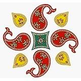 ARTISENIA Diwali Rangoli Indian 9 Pieces Paisley Design Rangoli Floor Table Decoration Studded Stones Sequins Traditional Fes