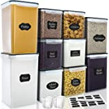 Large Tall Airtight Food Storage Containers, VERONES 10 PACK Plastic Airtight Kitchen & Pantry Organization, Ideal for Flour