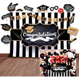 2021 Graduation Party Backdrop - Classy Black, White and Gold Theme Photography Fabric Backdrop and Studio Props DIY Kit. Gre