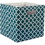 DII Hard Sided Collapsible Fabric Storage Container for Nursery, Offices, & Home Organization, (13x13x13) - Lattice Teal
