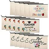 15 Pieces Teacher Makeup Bag Canvas Cosmetic Bag Teacher Pencil Bag Travel Toiletry Pouch Teacher Appreciation Gift Bags with