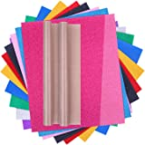Glitter HTV, Selizo 12Pcs Glitter Heat Transfer Vinyl Iron on Vinyl with Teflon Sheet for T-Shirts, Hats, Clothing, Compatibl