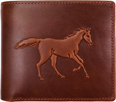 Embossman(エンボスマン) 二つ折り財布 馬 馬蹄 浮彫りエンボス デザインを楽しめる財布 幸運 PH8187
