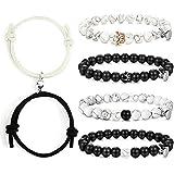 EIELO Magnetic Couple Bracelet Mutual Attaction Matching Rope Beaded Bracelet Set for Men Women Long Distance Relationships C